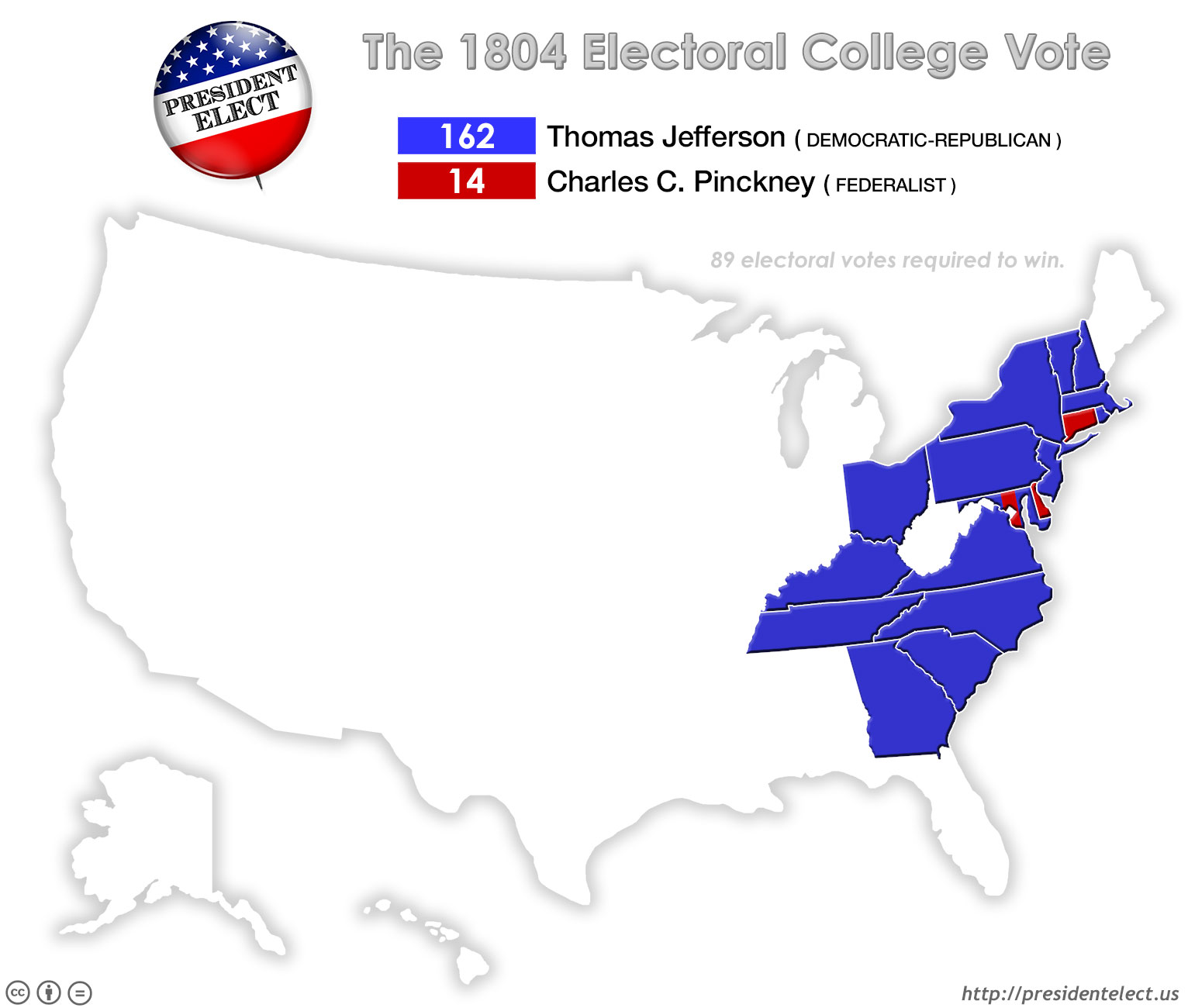 President Elect - 1804 us map