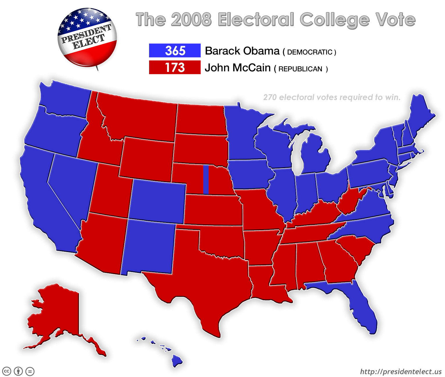 President Elect - Us electoral college map 1992